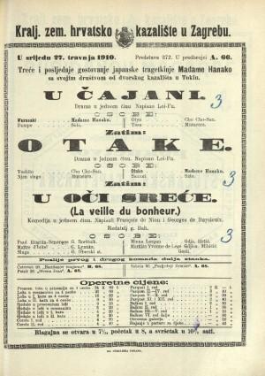 U čajani ; Otake ; U oči sreće Drama u jednom činu ; Drama u jednom činu ; Komedija u jednom činu  =  La veille du bonheur
