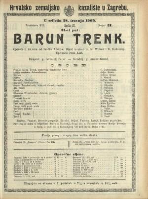 Barun Trenk Opereta u 3 čina / od Srećka Albinia
