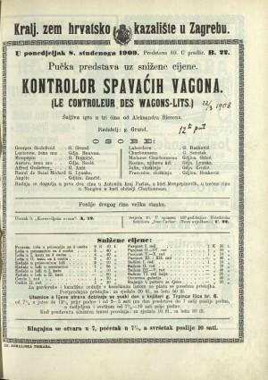Kontrolor spavaćih vagona Šaljiva igra u tri čina  =  Le Controleur des wagons-lits