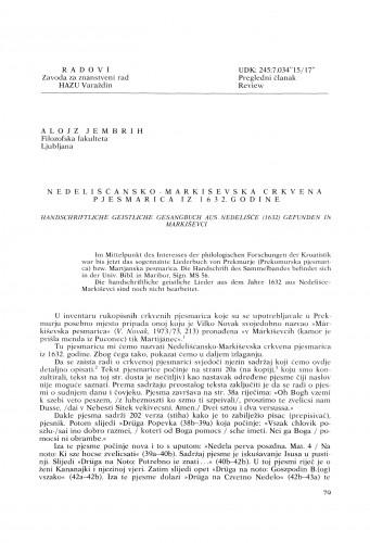 Nedelišćansko-Markiševska crkvena pjesmarica iz 1632. godine : Radovi Zavoda za znanstveni rad Varaždin