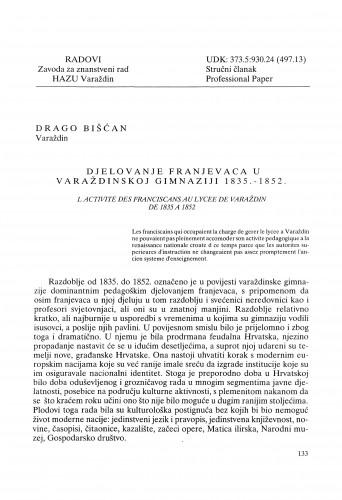 Djelovanje franjevaca u varaždinskoj gimnaziji 1835. - 1852. : Radovi Zavoda za znanstveni rad Varaždin