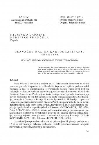 Glavačev rad na kartografiranju Hrvatske : Radovi Zavoda za znanstveni rad Varaždin