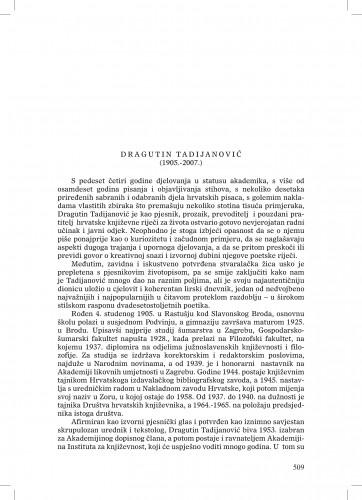Dragutin Tadijanović (1905.-2007.) : [nekrolog] : Ljetopis