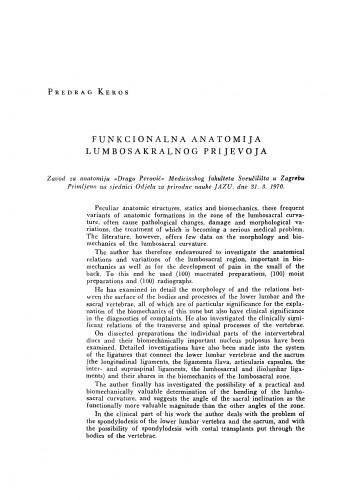 Funkcionalna anatomija lumbosakralnog prijevoja