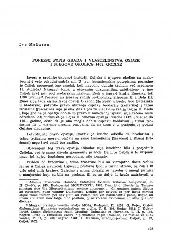 Porezni popis grada i vlastelinstva Osijek i njegove okolice 1469. godine / Ive Mažuran