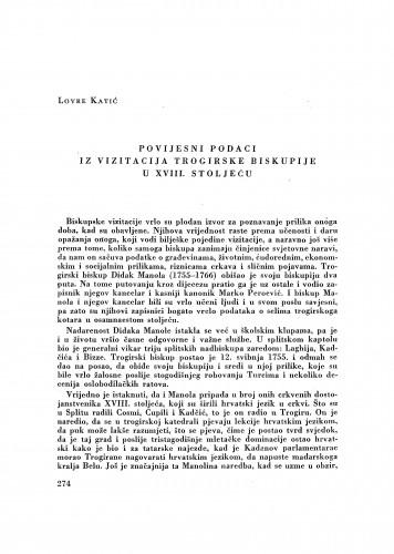 Povijesni podaci iz vizitacije trogirske biskupije u XVIII stoljeću / Lovre Katić