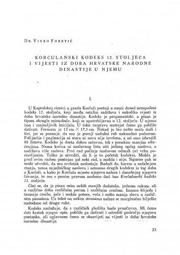 Korčulanski kodeks 12. stoljeća i vijesti iz doba hrvatske narodne dinastije u njemu / Vinko Foretić
