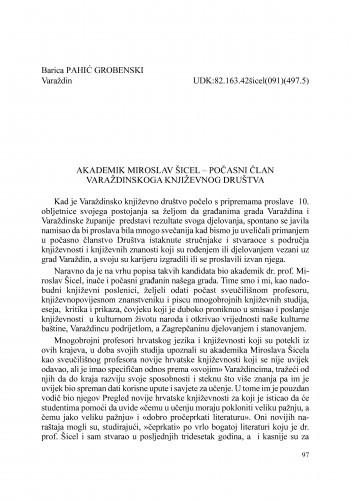 Akademik Miroslav Šicel - počasni član Varaždinskoga književnog društva : Radovi Zavoda za znanstveni rad Varaždin