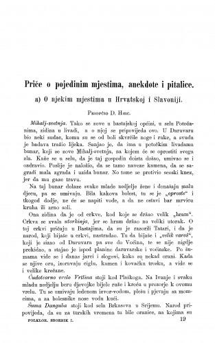 O njekim mjestima u Hrvatskoj i Slavoniji : epriče o pojedinim mjestima, anekdote i pitalice : Zbornik za narodni život i običaje