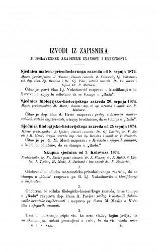 Izvodi iz zapisnika Jugoslavenske akademije znanosti i umjetnosti [1874] : RAD