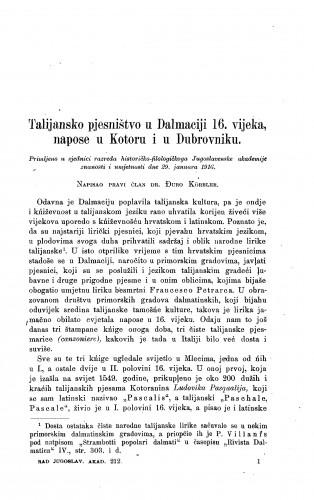 Talijansko pjesništvo u Dalmaciji 16. vijeka, napose u Kotoru i u Dubrovniku