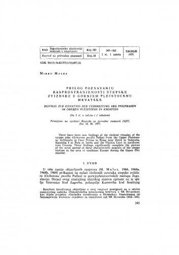Prilog poznavanju rasprostranjenosti stepske zviždare u gornjem pleistocenu Hrvatske