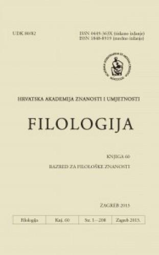 Knj. 60(2013) : Filologija : časopis Razreda za filološke znanosti Hrvatske akademije znanosti i umjetnosti