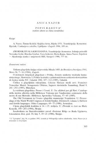 Anica Nazor : popis radova (nakon izbora za člana suradnika)