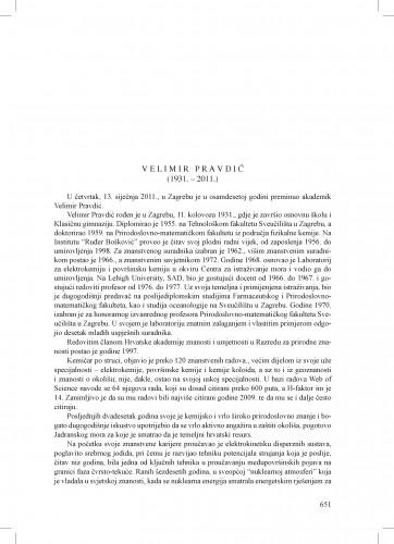 Velimir Pravdić (1931.-2011.) : [nekrolog] : Ljetopis