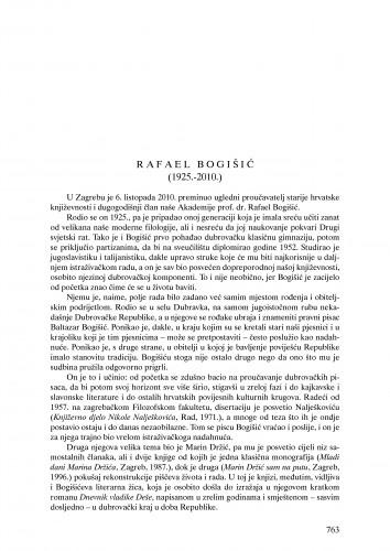 Rafael Bogišić (1925.-2010.) : nekrolog : Ljetopis