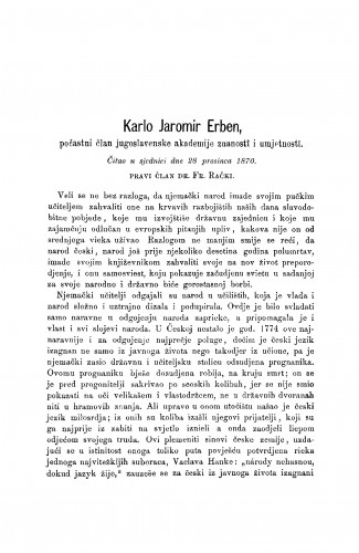 Karlo Jaromir Erben : [nekrolog.] : RAD
