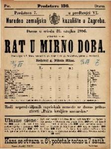 Rat u mirno doba Vesela igra u 5 činah / napisali G. pl. Mozer i Fr. pl. Schönthan