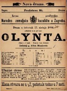 Olynta Drama u 5 čina / Napisao Julio Rorauer