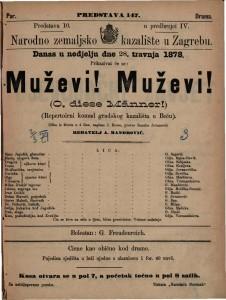 Muževi! Muževi! slika iz života u 4 čina. Repertoirni komad gradskog kazališta u Beču