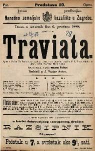 Traviata Opera u 3 čina / Glasba od Josipa Verdia