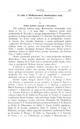 """O radu u međunarodnoj akademskoj uniji (""""Union Academique Internationale"""") / G. Manojlović"""