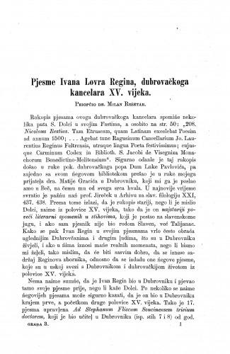 Pjesme Ivana Lovra Regina, dubrovačkoga kancelara XV. vijeka / Milan Rešetar