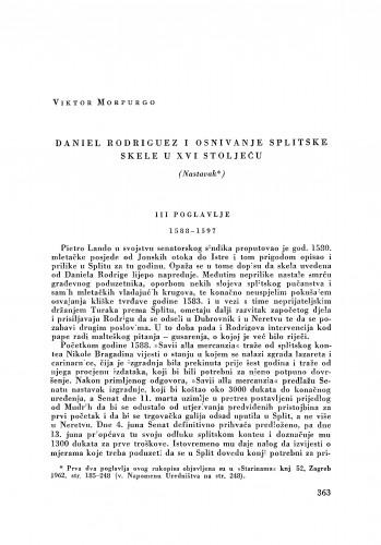 Daniel Rodriguez i osnivanje splitske skele u XVI stoljeću : (Nastavak) / Viktor Morpurgo