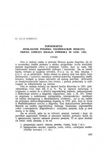 Topografija zemljišnih posjeda zagrebačkih biskupa prema ispravi kralja Emerika iz god. 1201.