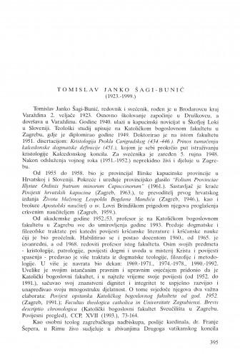 Tomislav Janko Šagi-Bunić (1923.-1999.) / Zdenko Tomislav Tenšek