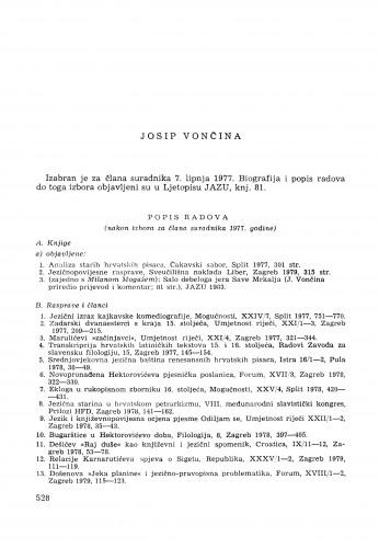 Josip Vončina : [biografije novih članova Akademije]