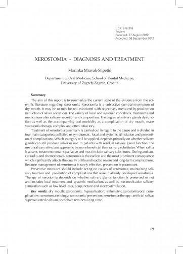 Xerostomia - diagnostics and treatment
