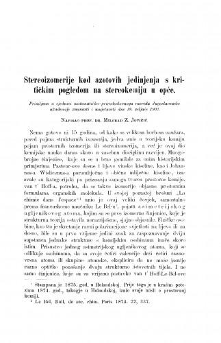 Stereoizomerije kod azotovnih jedinjenja s kritičkim pogledom na stereokemiju u opće