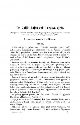 Dr. Julije Bajamonti i ńegova djela