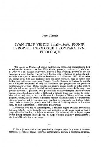 Ivan Filip Vesdin (1748-1806), pionir evropske indologije i komparativne filologije / Ivan Slamnig