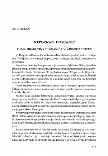 Nepoznati Domjanić : pisma Dragutina Domjanića Vladimiru Šifferu / Ante Sekulić