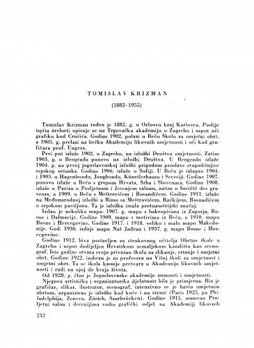 Tomislav Krizman (1882-1955) : [nekrolog] / J. MIše