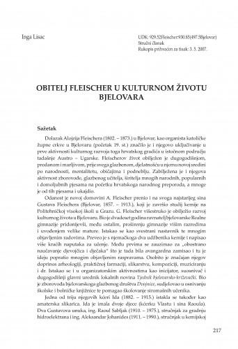 Obitelj Fleischer u kulturnom životu Bjelovara : Radovi Zavoda za znanstvenoistraživački i umjetnički rad u Bjelovaru