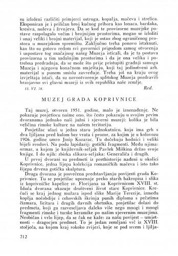 Muzej grada Koprivnice : Bulletin Instituta za likovne umjetnosti Jugoslavenske akademije znanosti i umjetnosti