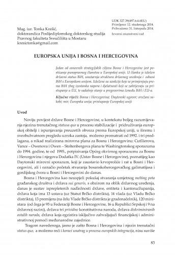 Europska unija i Bosna i Hercegovina : Adrias : zbornik Zavoda za znanstveni i umjetnički rad Hrvatske akademije znanosti i umjetnosti u Splitu