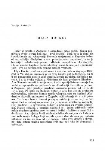Olga Höcker : Bulletin Zavoda za likovne umjetnosti Jugoslavenske akademije znanosti i umjetnosti