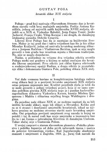 Gustav Poša : Bulletin Zavoda za likovne umjetnosti Jugoslavenske akademije znanosti i umjetnosti