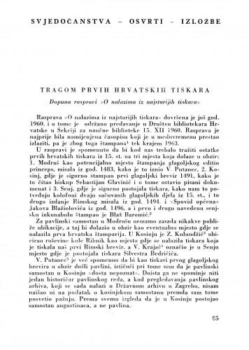 Tragom prvih hrvatskih tiskara : Bulletin Zavoda za likovne umjetnosti Jugoslavenske akademije znanosti i umjetnosti
