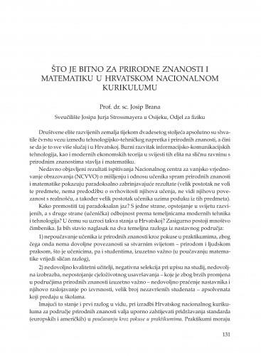 Što je bitno za prirodne znanosti i matematiku u Hrvatskom nacionalnom kurikulumu