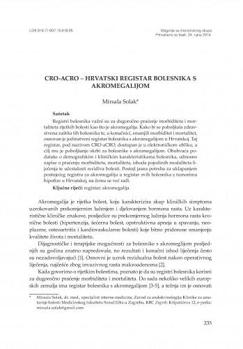 CRO-aCRO - Hrvatski registar bolesnika s akromegalijom