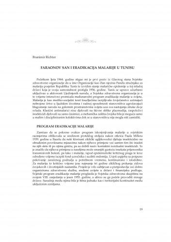 Faraonov san i eradikacija malarije u Tunisu : Rasprave i građa za povijest znanosti