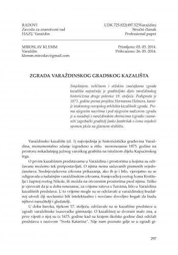 Zgrada varaždinskog gradskog kazališta : Radovi Zavoda za znanstveni rad Varaždin