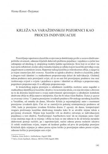 Krleža na varaždinskoj pozornici kao proces individuacije : Krležini dani u Osijeku