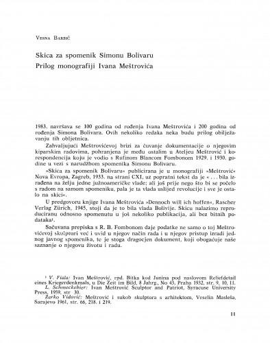 Skica za spomenik Simonu Bolivaru : prilog monografiji Ivana Meštrovića : Bulletin Instituta za likovne umjetnosti Jugoslavenske akademije znanosti i umjetnosti