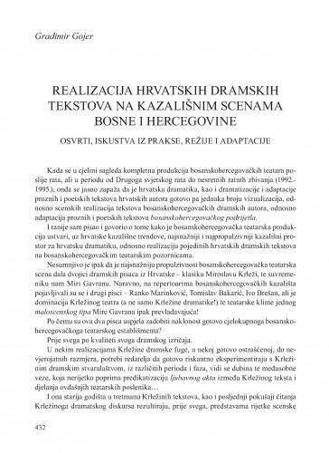 Realizacija hrvatskih dramskih tekstova na kazališnim scenama Bosne i Hercegovine : osvrti, iskustva iz prakse, režije i adaptacije : Krležini dani u Osijeku